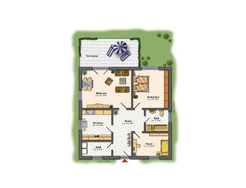 bungalow 80 qm neubau bungalow 76 qm massiv bauen in. Black Bedroom Furniture Sets. Home Design Ideas