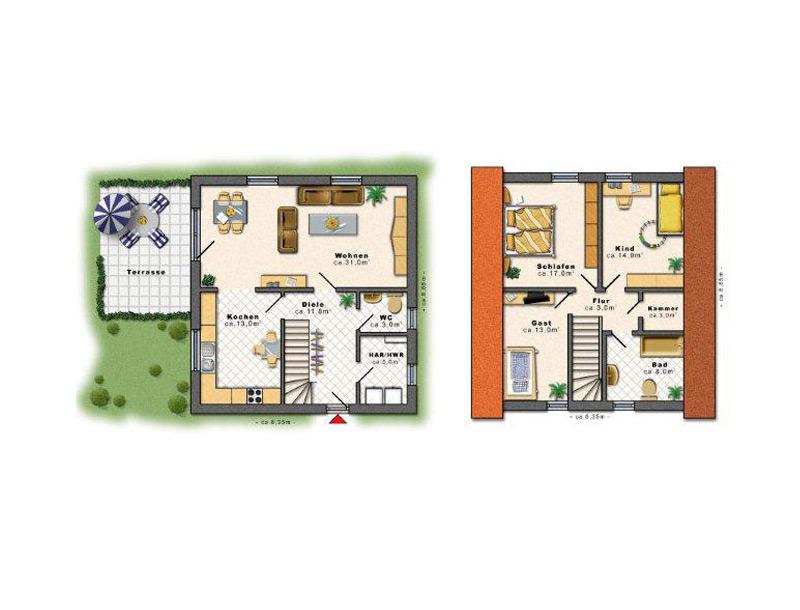Einfamilienhaus hausbau in und um berlin edas massivhaus for Grundriss einfamilienhaus 120 qm