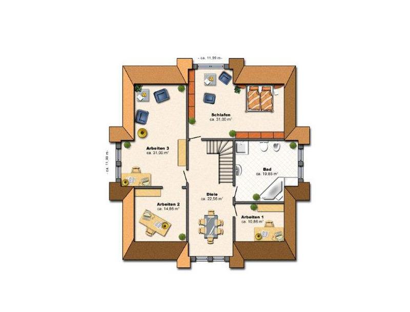 Einfamilienhaus hausbau in und um berlin edas massivhaus for Grundriss einfamilienhaus 140 qm